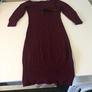 BEBE Burgundy Sexy Zipper Sweater Midi Dress